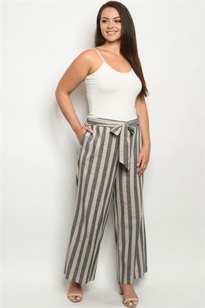 S21-6-1-P4312X TAUPE NAVY STRIPES PLUS SIZE PANTS 2-2-2