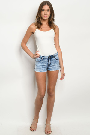 S8-13-1-S156 DENIM WASHED SHORTS 3-4-2-1-1