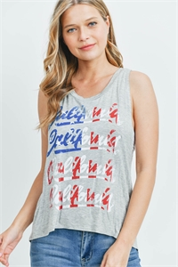 "C22-B-2-T124026 GRAY ""CALIFORNIA"" PRINT TOP 2-2-2"