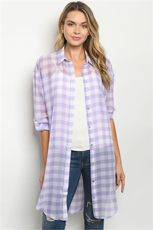 S11-3-3-T7115 LAVENDER CHECKERED CARDIGAN 3-3