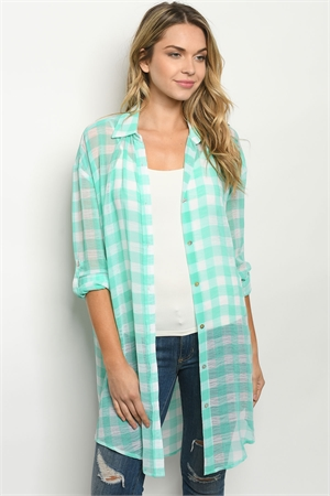S20-9-3-T7115 MINT CHECKERED CARDIGAN 4-3