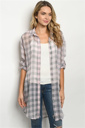 S20-12-3-T7115 PINK CHECKERED CARDIGAN 4-3