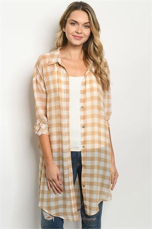 S20-9-3-T7115 TAUPE CHECKERED CARDIGAN 4-3