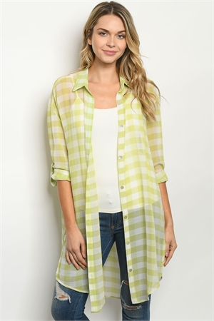 S20-9-3-T7115 LIME CHECKERED CARDIGAN 4-3