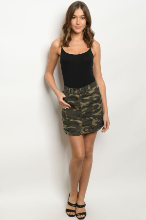 S12-6-1-S0012 OLIVE CAMOUFLAGE SKIRT 3-2-1