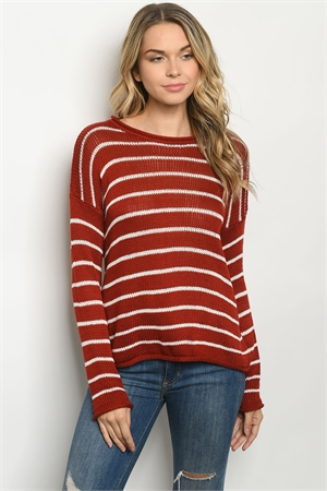 S12-5-2-T0314 RUST IVORY STRIPES TOP 4-2