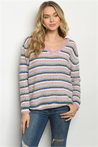 S11-9-1-S013 MAUVE MULTI SWEATER 3-2-1