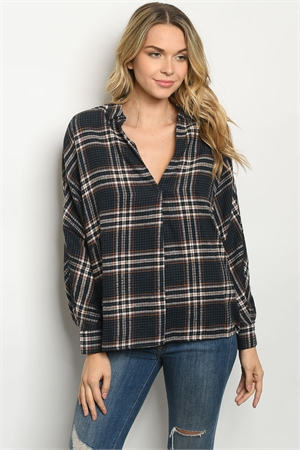 S18-4-1-T14067 NAVY RUST CHECKERED TOP 3-2-1