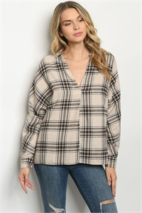 S10-19-3-T14067 TAUPE NAVY CHECKERED TOP 1-2