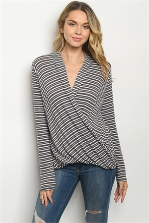 C45-A-1-T1041 CHARCOAL IVORY STRIPES TOP 2-2-2