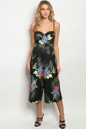 S8-1-1-J5114 BLACK WITH FLOWER PRINT JUMPSUIT 3-2-1