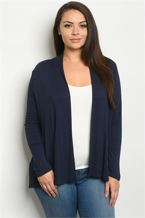 S6-2-1-C1125X NAVY PLUS SIZE CARDIGAN 2-2-2