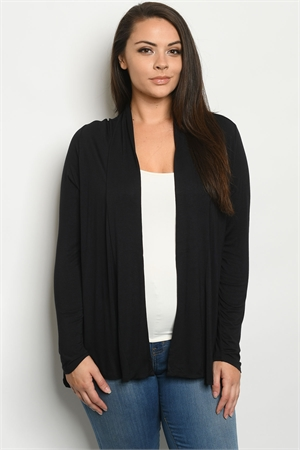 S6-2-1-C1125X BLACK PLUS SIZE CARDIGAN 2-2-2
