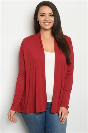 S6-2-1-C1125X BURGUNDY PLUS SIZE CARDIGAN 2-2-2