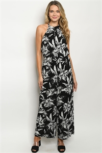 S20-8-2-J53576 BLACK WHITE PRINT JUMPSUIT 1-2-2-1