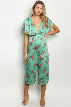 S13-6-2-J90495 GREEN FLORAL JUMPSUIT 2-2-2