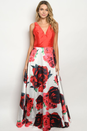 S11-18-1-D26312 RED FLORAL DRESS 2-2-2