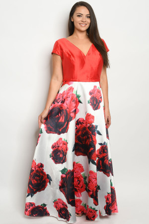 S11-19-1-D26312X RED FLORAL PLUS SIZE DRESS 3-2-1