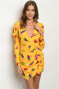 S15-6-1-D3280 YELLOW MULTI PRINT DRESS 3-2-1