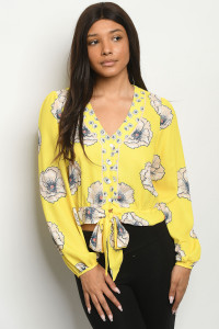S19-8-2-T5187 YELLOW PRINT TOP 2-2-2
