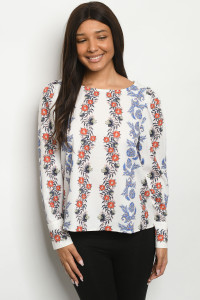 S19-10-2-T5174 OFF WHITE FLORAL TOP 2-2-2