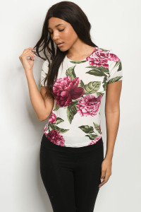 S19-11-3-T6358 IVORY WITH FLOWER PRINT TOP 2-2-1