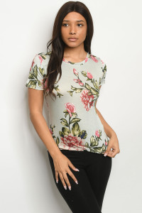 S21-8-2-T6358 SAGE WITH FLOWER PRINT TOP 1-2-2-1