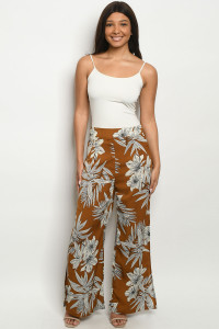 S11-18-3-P172 CAMEL WITH FLOWER PRINT PANTS 2-2-2