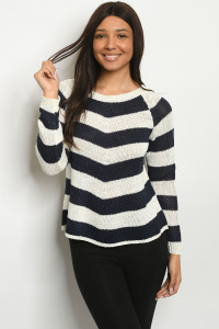 S22-13-2-S2360 IVORY NAVY STRIPES SWEATER 3-3