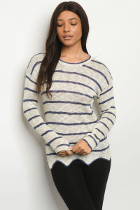 S24-6-1-S2381 IVORY BLUE STRIPES SWEATER 3-3