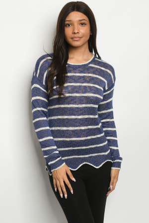 S24-6-1-S2381 BLUE IVORY STRIPES SWEATER 3-3