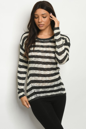 S21-12-3-S2379 BLACK IVORY STRIPES SWEATER 1-3