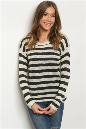 S24-5-2-S2379 IVORY BLACK STRIPES SWEATER 3-3