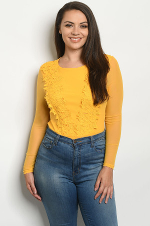 S23-8-3-B32594X YELLOW PLUS SIZE BODYSUIT 2-2-2
