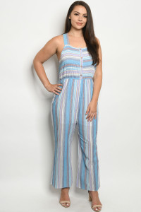 S23-6-2-J59635X BLUE LAVENDER STRIPES PLUS SIZE JUMPSUIT 2-2-2