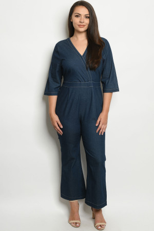S24-5-2-J51787X BLUE DENIM PLUS SIZE JUMPSUIT 2-2-2