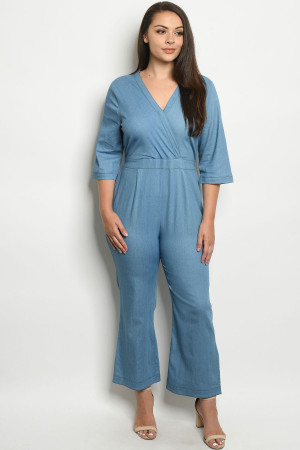 S24-5-2-J51787X LIGHT DENIM PLUS SIZE JUMPSUIT 2-2-2
