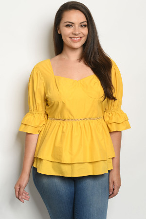 S23-6-2-T51984X MUSTARD PLUS SIZE TOP 2-2-2