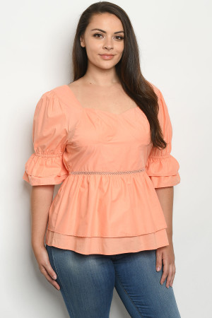 S23-6-2-T51984X SALMON PLUS SIZE TOP 2-2-2