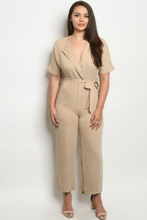 S14-8-3-J38780X TAN PLUS SIZE JUMPSUIT 2-2-2