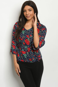 S19-7-2-T2685 NAVY WITH FLOWERS TOP 2-2-2