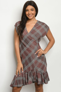 S25-3-1-D2045 MAUVE CHECKERED DRESS 2-2-2