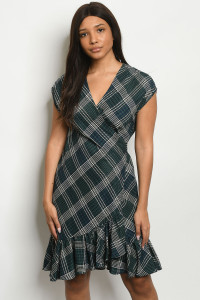 S25-3-2-D2045 GREEN CHECKERED DRESS 2-2-2