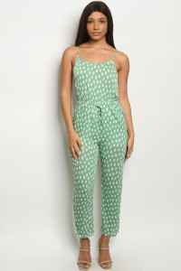 S12-1-3-J19081 GREEN WHITE JUMPSUIT 3-2-1