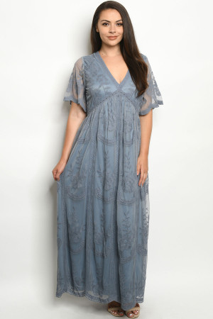 S16-3-1-D5009X INDIGO PLUS SIZE DRESS 2-1-1