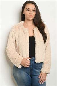 S2-6-2-J041X BEIGE PLUS SIZE JACKET 2-2-2