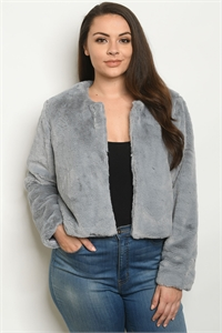 S2-6-2-J041X GRAY PLUS SIZE JACKET 2-2-2