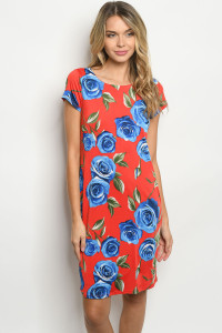 C12-A-1-D5066C RED ROYAL WITH ROSES PRINT DRESS 2-2-2