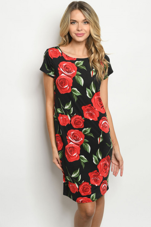 C12-A-1-D5066C BLACK RED WITH ROSES PRINT DRESS 2-2-2