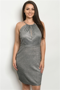 S2-6-3-D6572X GRAY WITH GLITTER PLUS SIZE DRESS 2-2-2